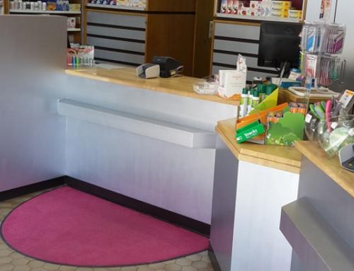 Tapis en demi-rond pour la Pharmacie Orban à Bruxelles